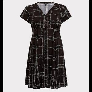 Torrid Chain Link Grid Button Front Shirt Dress